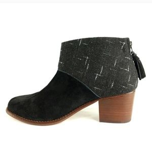 TOMS Leila Suede Dotted Wool Black boot bootie 6.5
